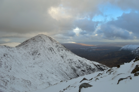 Stob Dearg, Buachaille Etive Mor and Rannoch Mor in the distance.